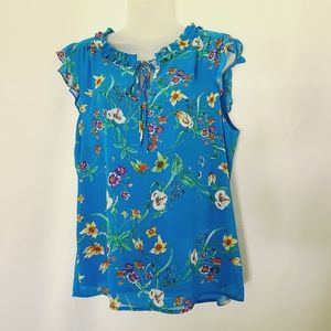 Rose & Olive Blue Floral Sleeveless Blouse NWT